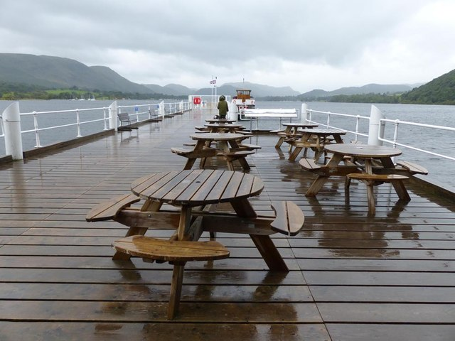 The pier at Pooley Bridge on another wet day in the Lake District