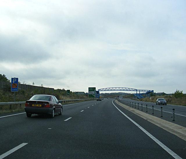 A428 Hardwick Bypass approaching the Callow Brook footpath bridge