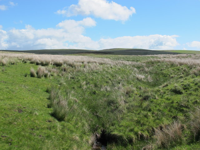 Durtrees Burn and moorland southwest of Watty Bell's Cairn