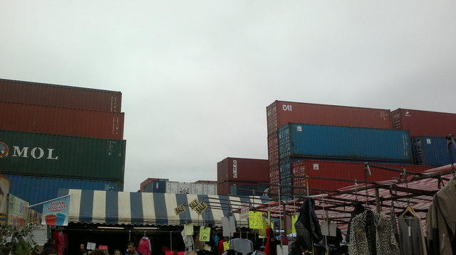 View of containers in Bullmans Self Storage from Dagenham Market #2