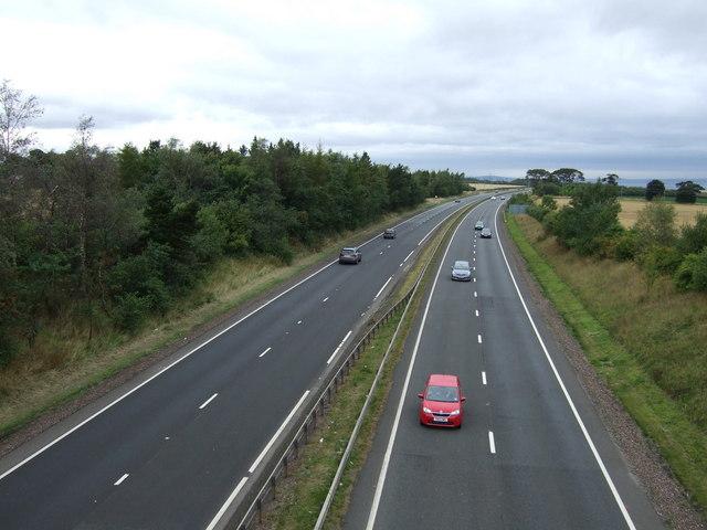A1 westbound near Macmerry