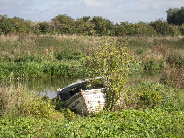 Derelict Boat off River Great Ouse