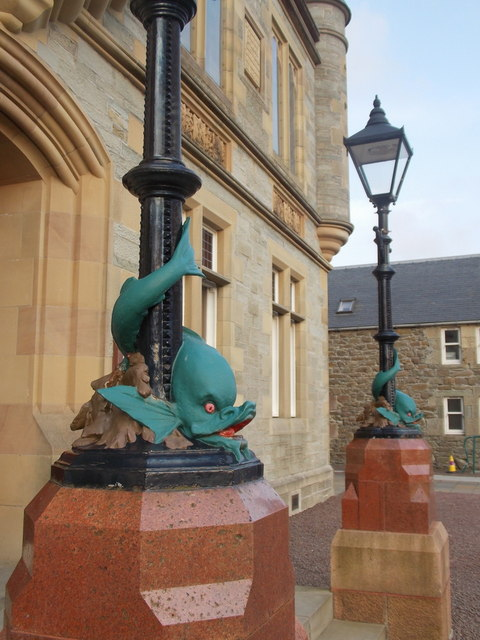 Lerwick: dolphin lampposts at the Town Hall