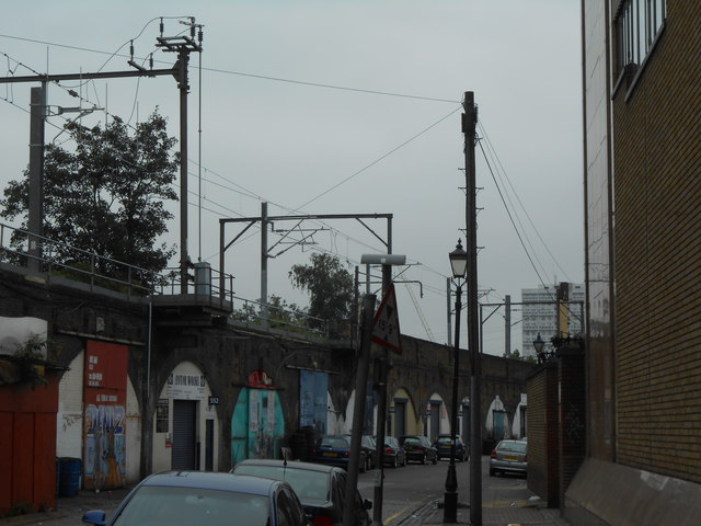 Arnold Road, with railway overhead