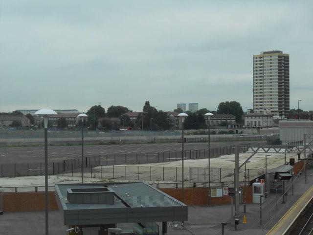 Empty ground north of Stratford Station