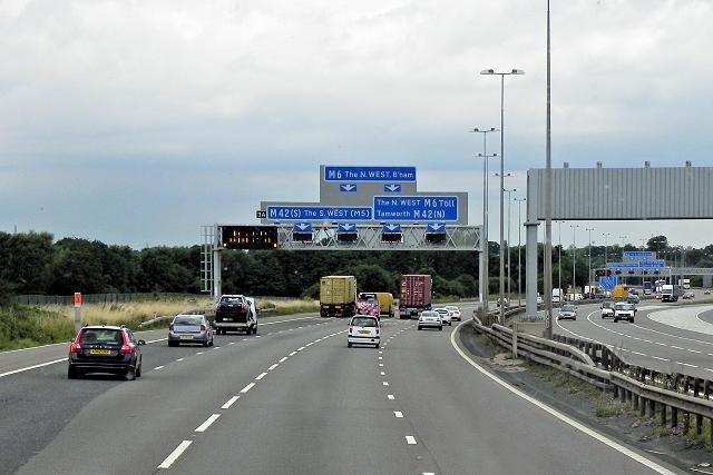 M6 Northbound, Coleshill Interchange