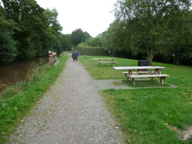 Picnic tables beside the canal at Gilwern