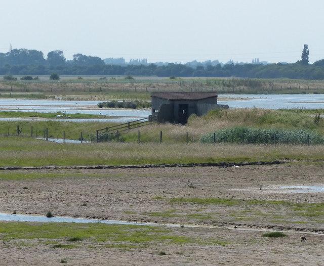 Birdwatching hide at RSPB Frampton Marsh nature reserve