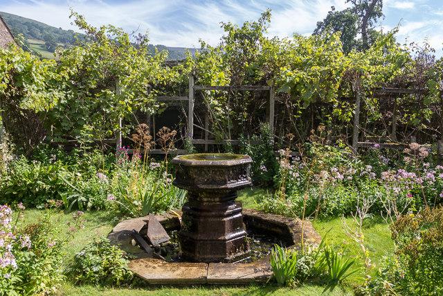 Fountain in Garden, Tretower Court, Wales
