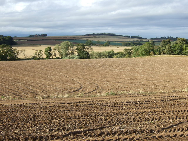 Ploughed field towards the River Tyne