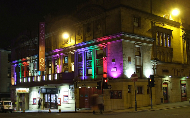 Pavilion Theatre at night