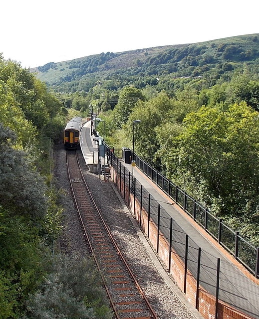 Arriva Trains Wales departure for Cardiff waits at Ebbw Vale Parkway station