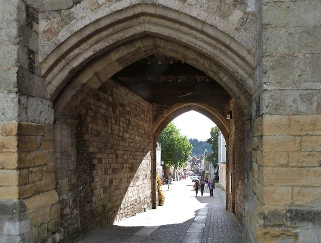 View of the High Street, Winchester through the West Gate
