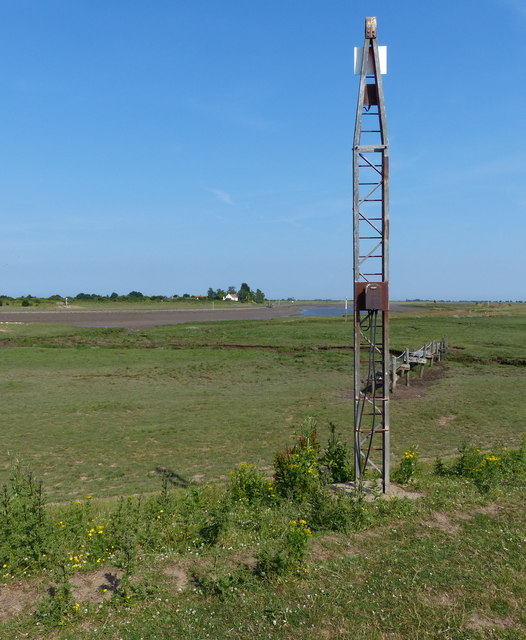 Metal 'tower' along the sea bank
