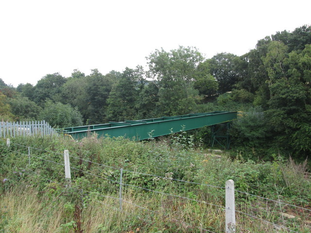Pipe bridge over the railway north of Woolley Edge Tunnel