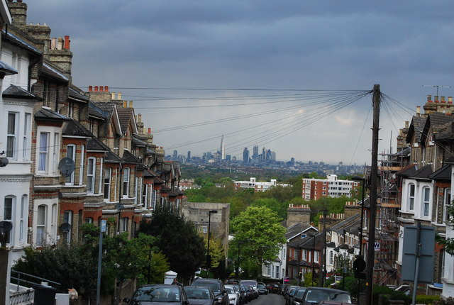 Isle of Dogs seen from Gipsy Hill