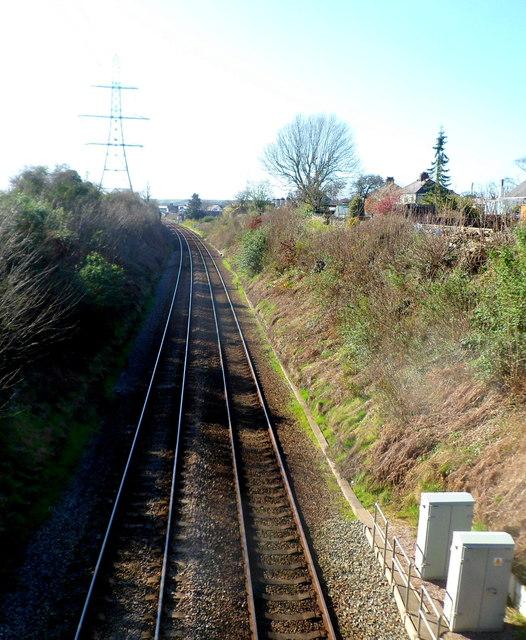 West towards Llanfairpwll railway station