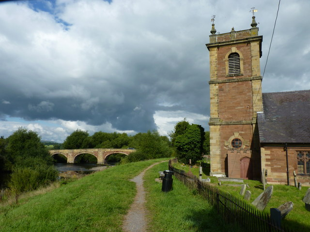 Footpath, old bridge and St Dunawd's church, Bangor-on-Dee