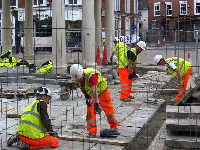 Laying paving stones, Market Square, Beverley