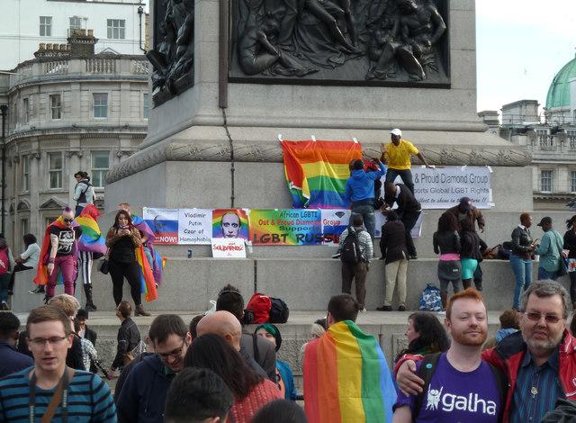 Trafalgar Square - gay rights protest