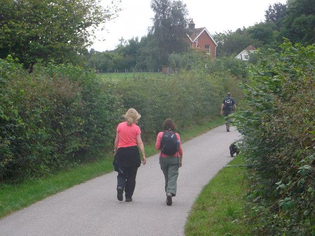 Walkers on Birchett's Green Lane (2)