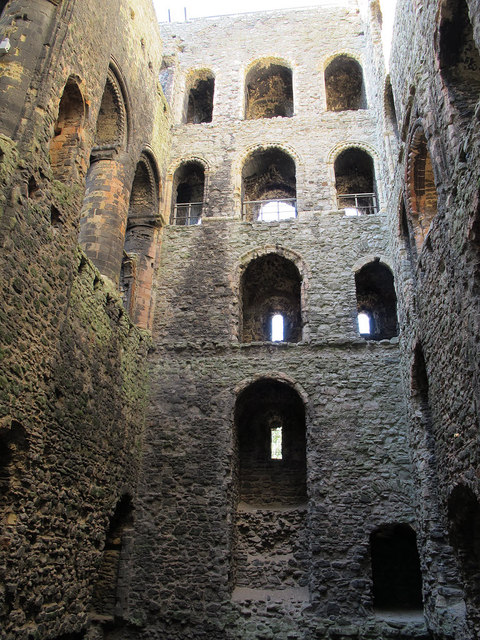 Inside the keep of Rochester Castle