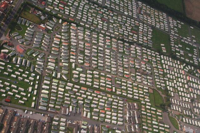 Serried ranks of caravans between Roman Bank and Burgh Road (aerial 2013)
