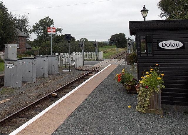 Grey boxes at Dolau railway station