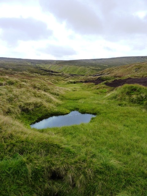 A boggy pool in the upper reaches of the Allt Damh Dubh