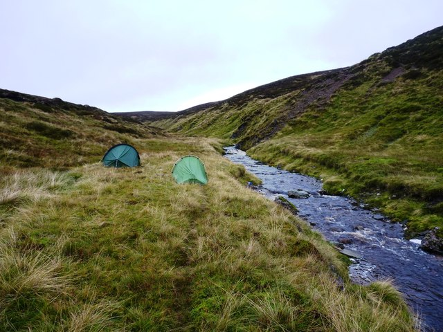 Wild camping beside the Allt Damh Dubh