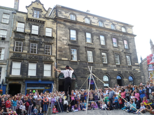 Tightrope performer on the Royal Mile