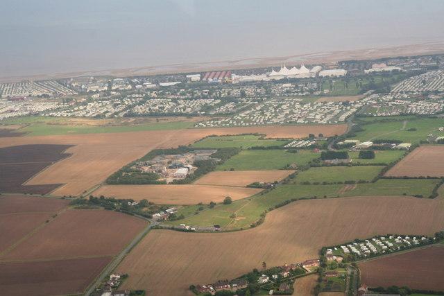 Skegness sewage works, Water Leisure Park and Butlins: aerial 2013