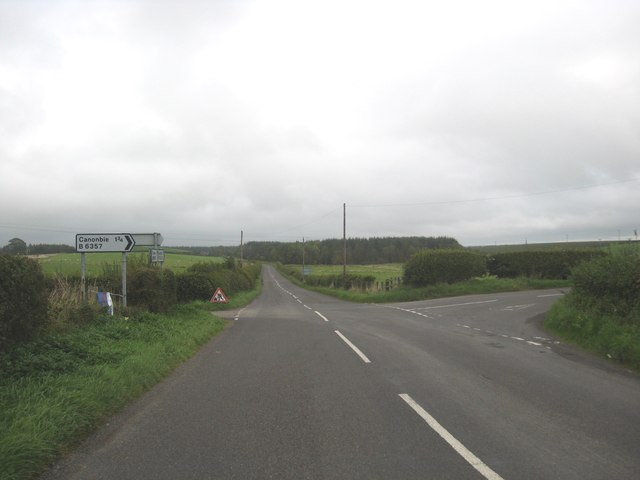 Junction of the B6357 and B720 roads in Dumfries and Galloway