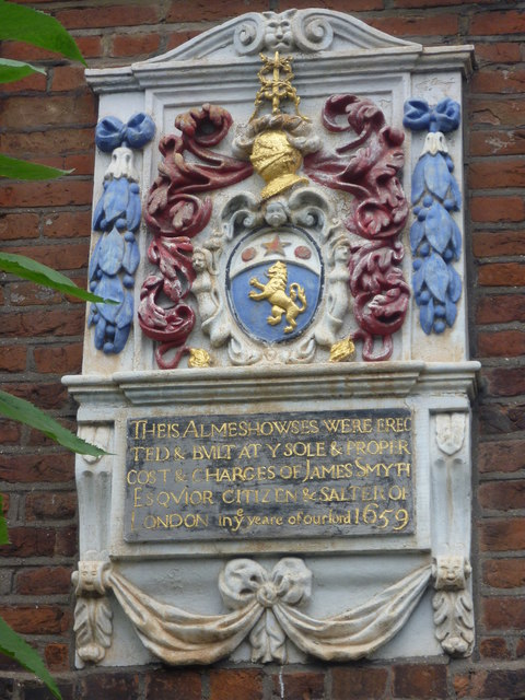 Plaque over the entrance to the Smyth Almshouses