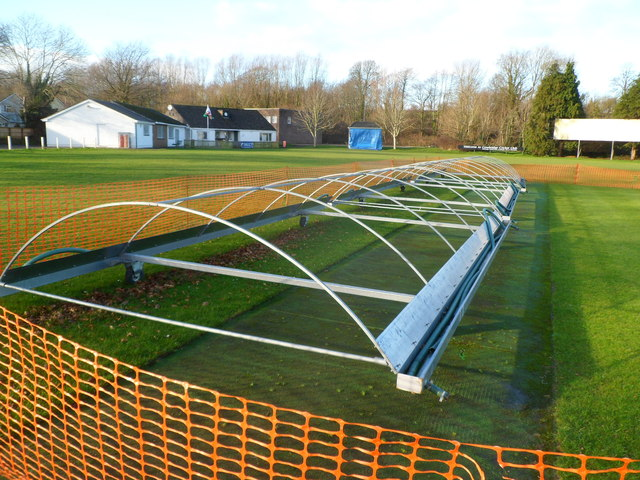 Wheeled frame on a cricket pitch at Cowbridge Athletic Club