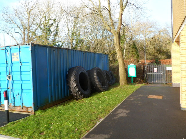 Tyres near the entrance to Cowbridge Bowls Club