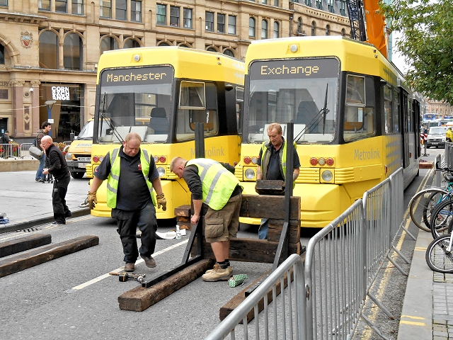 Mock Trams in Exchange Square