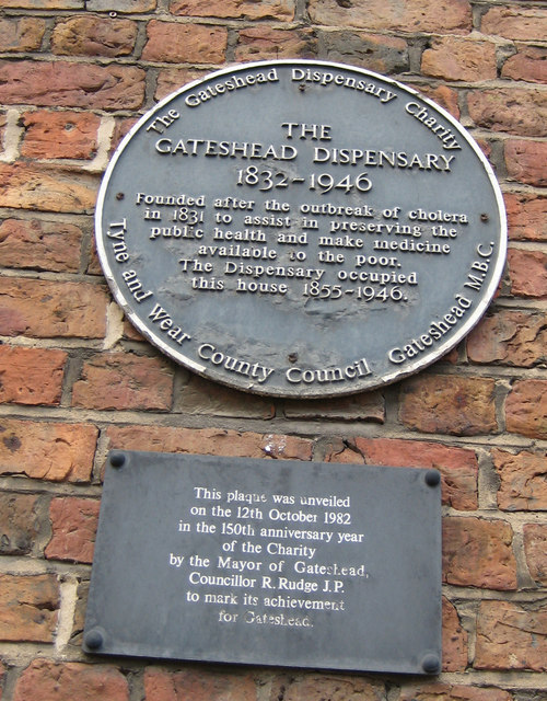 Plaque on the Gateshead Dispensary