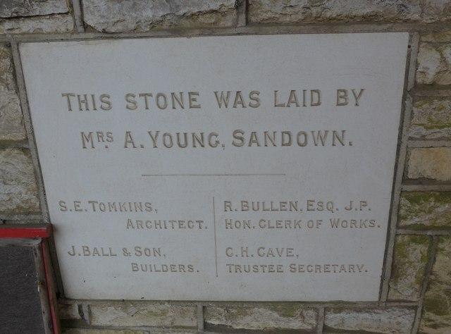 Commemoration stone, Totland Methodist Church (2)