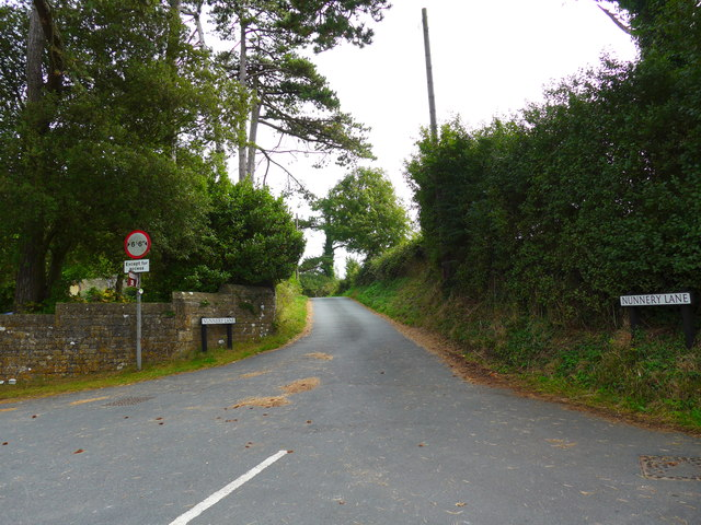 Looking from Whitcombe Road into Nunnery Lane