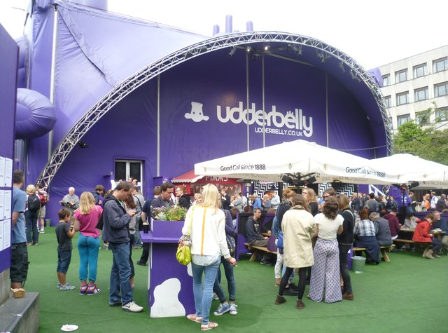 Festival-goers at the Udderbelly
