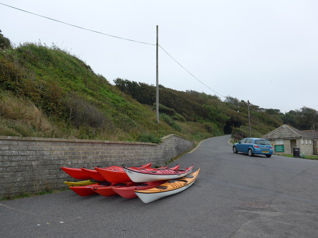 Canoes on the path near the pier
