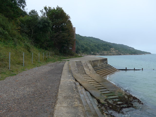 Path from Totland Pier reaches the old lifeboat station