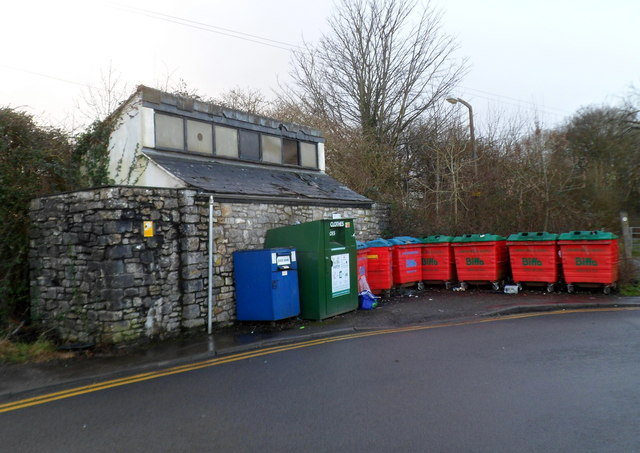 Recycling area near Cowbridge Livestock Market