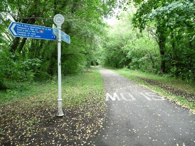 Cycleway signpost on the former railway line