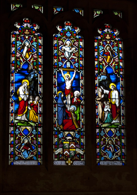 A stained glass window in St Peter's Church, Winterborne Came