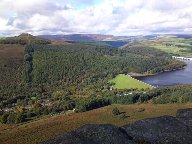 Looking down from Bamford Edge to Ladybower Reservoir