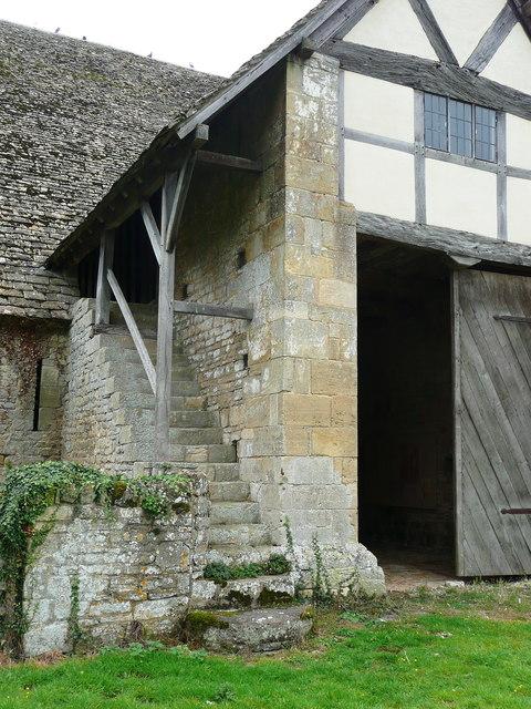 Staircase to the bailiff'e room at Bredon Tithe barn