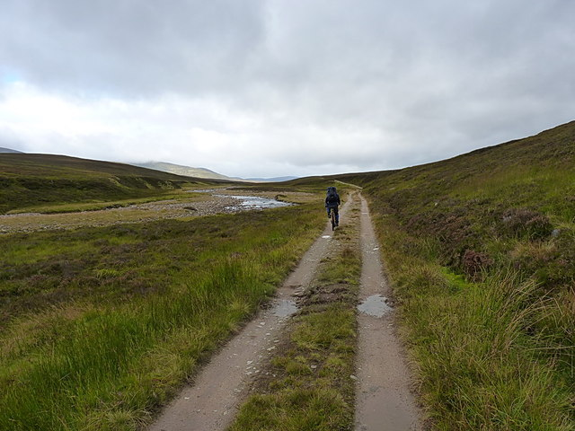 Riding up the Geldie Burn