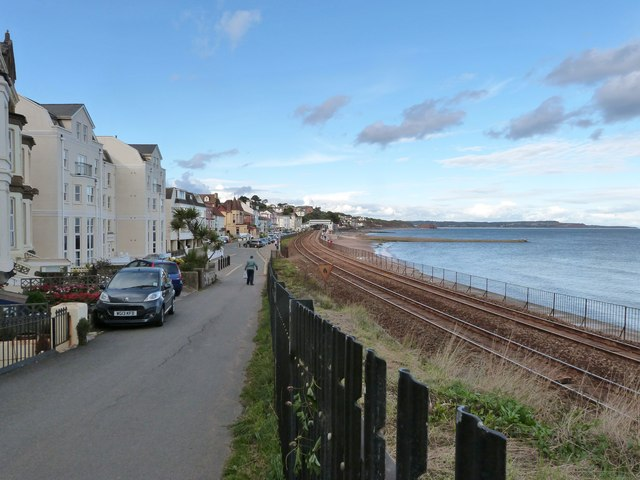 Marine Parade and the well known stretch of coastal railway line, Dawlish